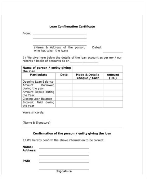 loan balance confirmation letter sle 28 images
