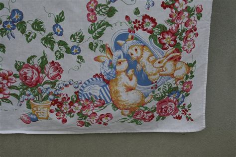 vintage tablecloth easter bunny hopeful homemaker