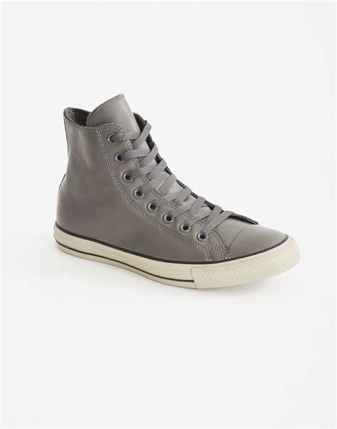 Converse Hi Gray converse chuck hi trainer grey in gray for lyst