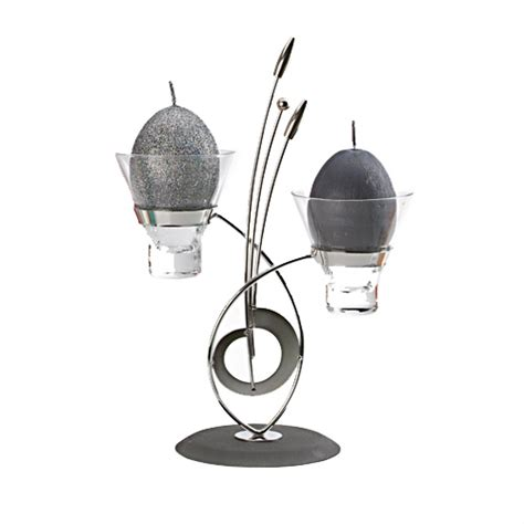 enigma contemporary metal candle holder with double glass