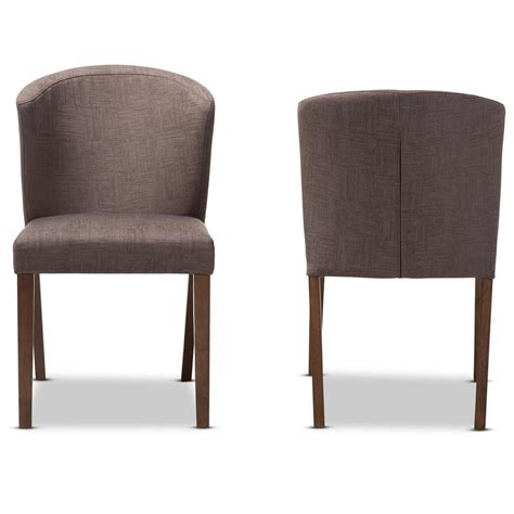 Brown Fabric Dining Chairs Baxton Studio Light Brown Walnut Brown Fabric Dining Chair Set Of 2 2pc 7559 Hd The