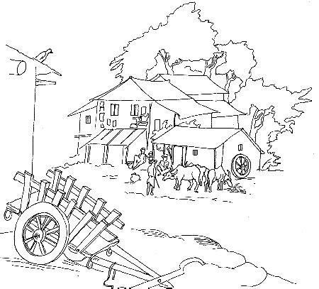 sketch of village hut coloring coloring pages