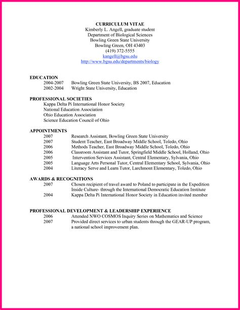 exle curriculum vitae for students gallery of sle of curriculum vita