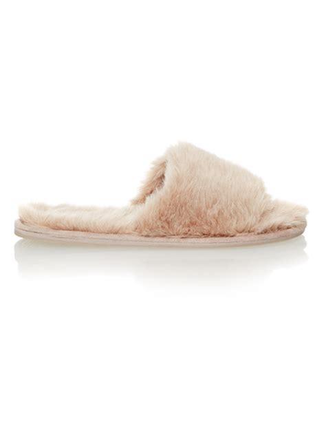 sainsburys slippers womens brown fur mule slippers tu clothing