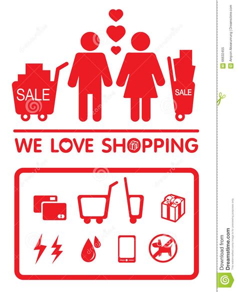 image gallery i love shopping icons love shopping stock vector image 66632455