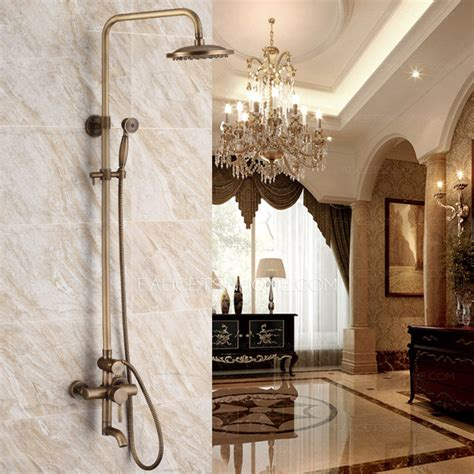 luxury antique brass  wall mount shower faucet system