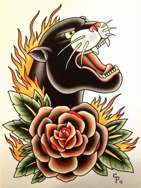 panther rose tattoo flower and traditional panther design