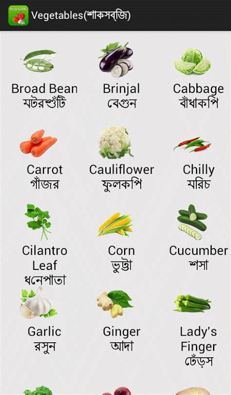 vegetables 5 name grammar with bengali vegetable to