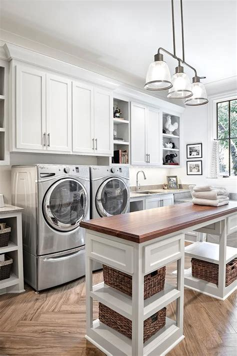 best laundry rooms wood top laundry room island with shelves transitional laundry room