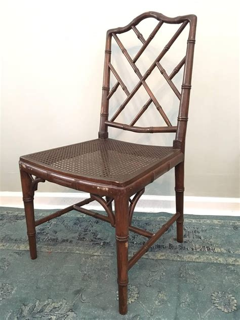 set   chinese chippendale faux bamboo dining chairs
