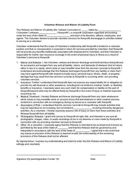 volunteer waiver form template volunteer waiver and release form 3 free templates in