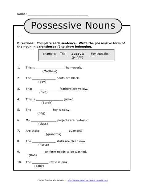 printable noun quiz possessive nouns