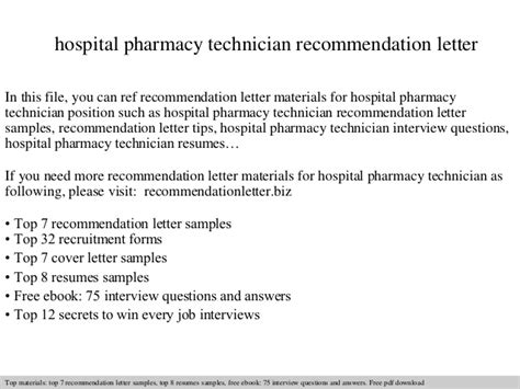 Recommendation Letter Tech Hospital Pharmacy Technician Recommendation Letter