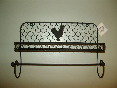 Country Towel Racks by Primitive Country Farm Chicken Wire Spice Rack Rooster
