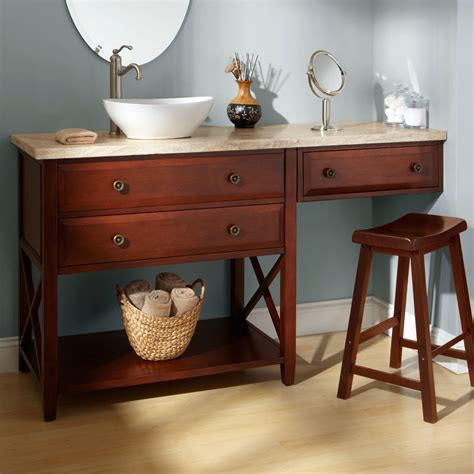 Bathroom Vanity With Makeup 72 Quot Clinton Vanity With Makeup Area Cherry Cabinet Only Bathroom