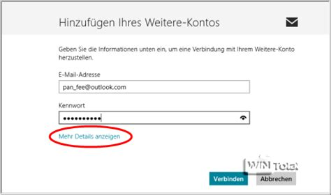 total adresse si鑒e social imap zugriff auf outlook com im e mail client und in der