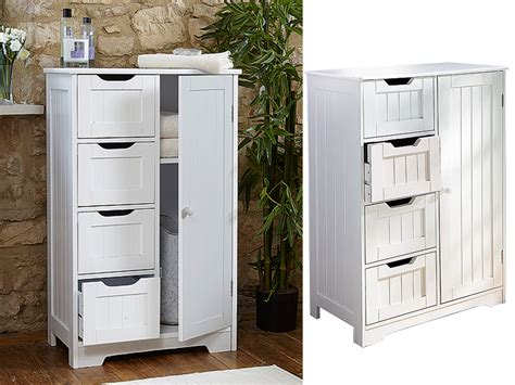 White Wooden Bathroom Cabinet Shelf Cupboard Bedroom Storage Unit Free Standing White Wooden Cabinet With 4 Drawers Cupboard Storage Bathroom Or Bedroom New Ebay