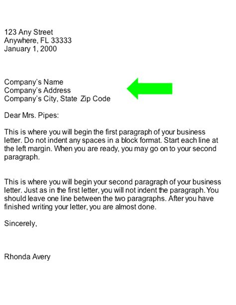 collection: Inside Address of business Letter: (Part of