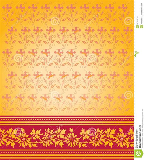 yellow indian pattern background red and gold saree design stock vector image 47320739