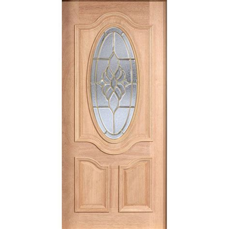 Solid Wood Front Door With Glass Door 30 In X 80 In Mahogany Type Unfinished Beveled Brass 3 4 Oval Glass Solid Wood Front