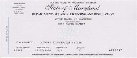 Plumbing Journeyman License by Kennedy Portfolio