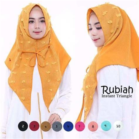 Jilbab Instan Tali Rubiah Ootd jual jilbab rubiah pet triangle premium