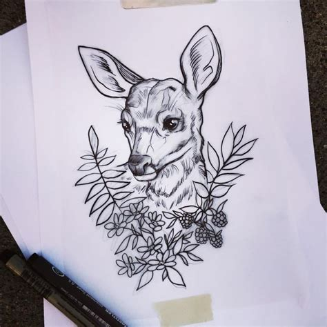 collection of 25 baby deer n fox tattoo design