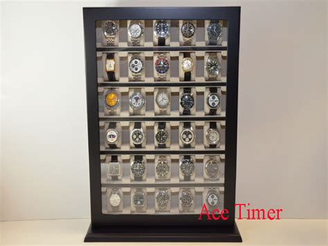 wall showcase 60 45 pd1749 30 watch black lacquer wooden stand wall display storage