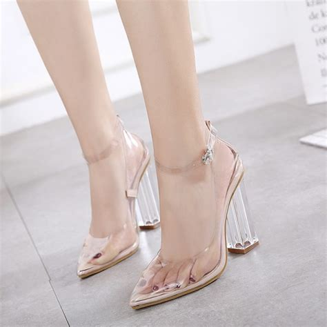 Pointy Pumps With Ankle clear heels ankle block heel pointy toe pvc pumps