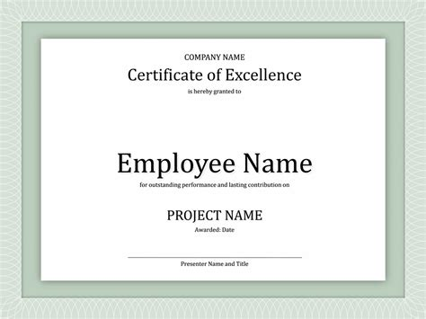 certificate of excellence for employee free certificate