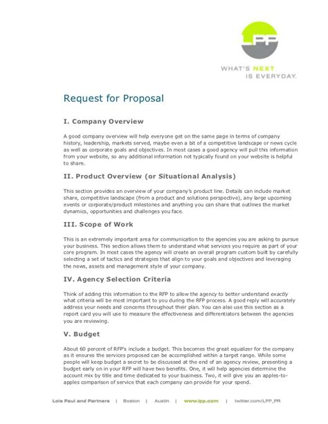 pr rfp template lois paul and partners sle rfp