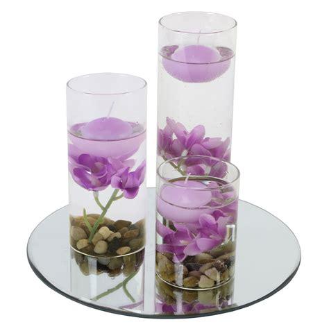 Floating Candle Vase Set Glass Mirror Plate Floating Candles Vase Full Set Flower