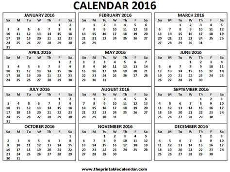2016 Calendar By Month 2016 Calendar Printable 12 Months Calendar On One Page