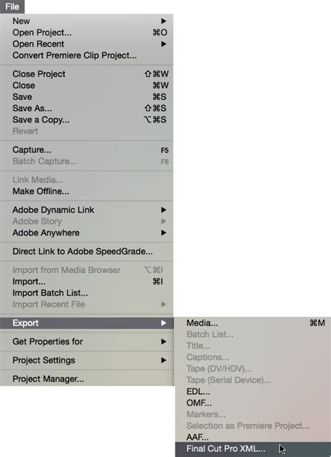adobe premiere pro xml export import project from nle red giant