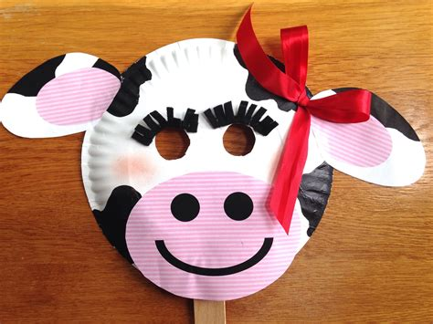 Mask From Paper Plates - fil a cow day paper plate cow masks with free