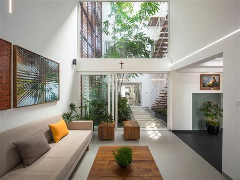 a gorgeous home split by a covered garden atrium