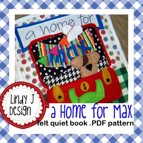 quiet book pdf pattern a home for max felt quiet book pdf pattern by lindyjdesign
