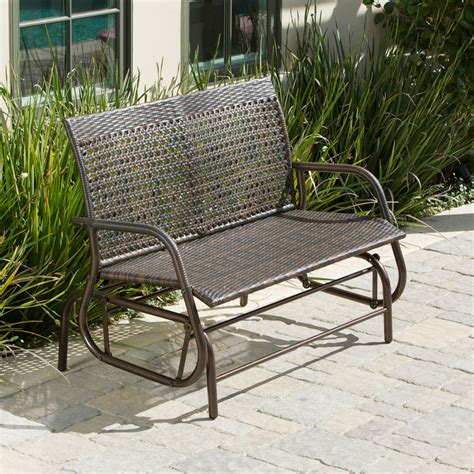 Wicker Patio Bench by Outdoor Patio Furniture Brown Pe Wicker Glider Swinging