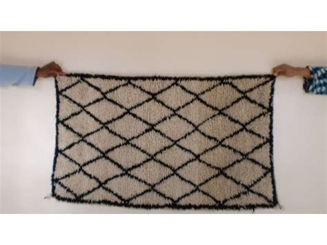 best seller knotted rugs black white pile knot rug fair trade morocco anou