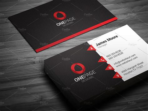 Red Business Card Template Business Card Templates Creative Market Business Card Template