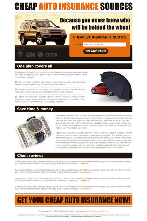 Inexpensive Auto Insurance by Auto Insurance Landing Page Designs To Improve Your Conversion