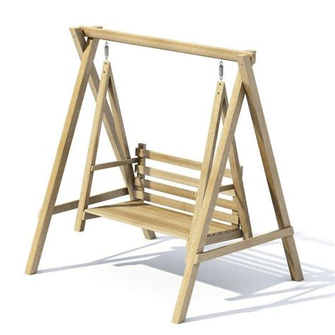 swing 3d wood garden swing 3d model cgtrader com