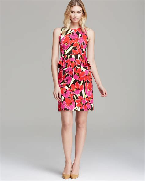 Branded Ny Collection Tosca Colorful Flower Dress kate spade new york tropical peplum sheath dress in lyst