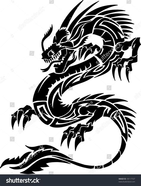 tribal tattoo dragon vector illustration stock vector