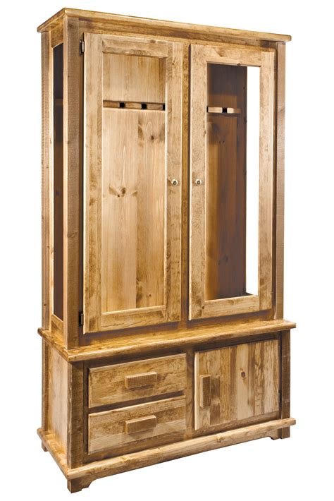 homestead timber frame gun cabinet stained lacquered or