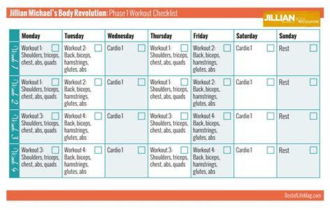 workout calendar jillian revolution printable workout