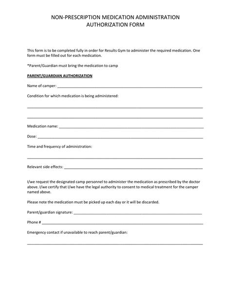 Non Prescription Medication Administration Authorization Form By Courtney Connors Issuu Medication Authorization Form Template