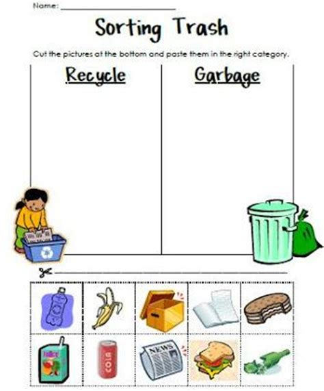 kindergarten activities recycling sorting trash earth day recycling activity