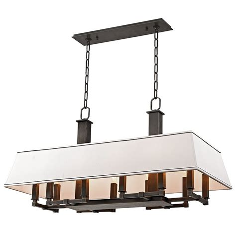 Linear Island Lighting Hudson Valley Lighting 7038 Ob Bronze Kingston 12 Light Linear Island Light With Faux Silk
