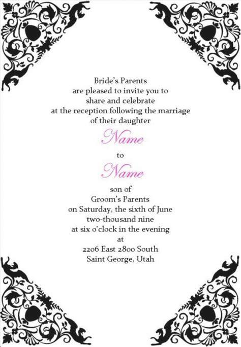 templates for wedding reception invitations wedding reception invitations templates wblqual com